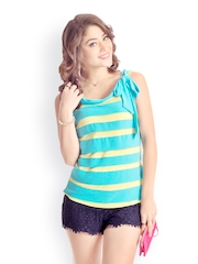Color Me Pretty Collection Women Lime Green & Turquoise Blue Top PrettySecrets