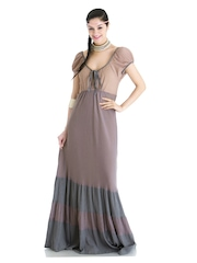 Priyadarshini Rao for Stylista Mauve & Grey Come Away With Me Maxi Dress