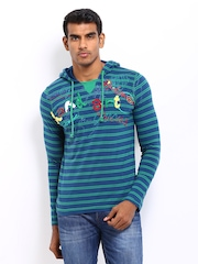 Probase Men Blue & Green Striped Hooded T-shirt