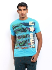 Probase Men Blue Printed T-shirt