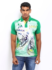 Probase Men Green Printed Polo T-shirt