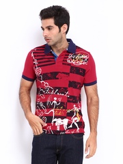 Probase Men Red Printed Polo T-shirt