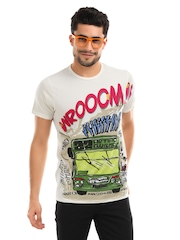 Probase Men White Printed Tshirt