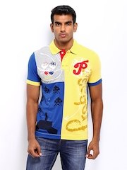 Probase Men Yellow & Blue Printed Polo T-shirt