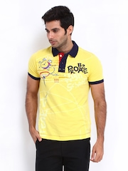 Probase Men Yellow Printed Polo T-shirt