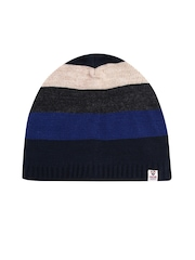 Proline Men Blue & Charcoal Grey Striped Beanie