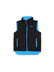 Puma Boys Black & Blue Reversible Padded Gilet Jacket