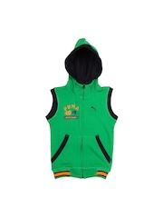 Puma Boys Green Sleeveless Sweat Jacket