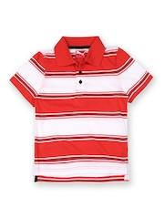 Puma Boys White & Coral Pink Striped Yarn Dye Polo T-shirt