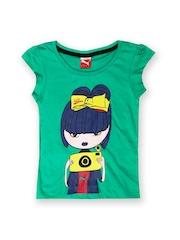 Puma Girls Green Printed T-shirt