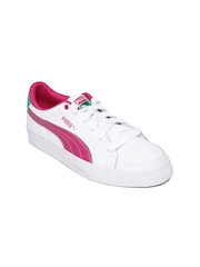 Puma Girls White Court Point Jr Casual Shoes
