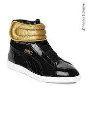 Puma Kids Black & Gold-Toned First Round Casual Shoes