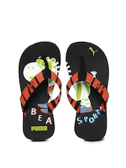 Puma Kids Rust Orange & Black Zebra Jr Ind Flip Flops