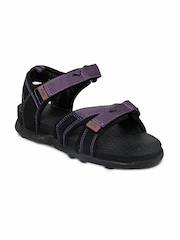 Puma Kids Black & Purple Techno Jr Sandals