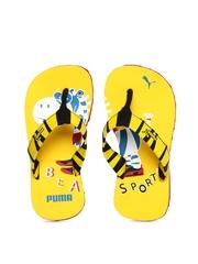 Puma Kids Yellow & Black Zebra Jr Ind Flip Flops