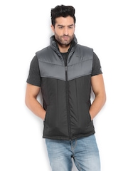 Puma Men Black & Grey Padded Sleeveless Jacket