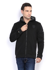 Men Black Ferrari Hooded Sweat Jacket Puma