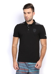 Men Black Ferrari Polo T-shirt Puma