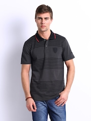 Puma Men Black Striped Ferrari Polo T-shirt