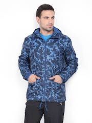 Men Blue & Black Printed Hooded Jacket Puma
