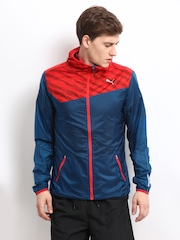 Puma Men Blue & Red Windbreaker Jacket