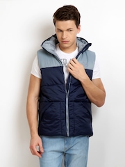 Puma Men Blue & Grey Sleeveless Hooded Jacket