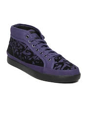 Puma Men Purple & Black Alexander McQueen Step Mid Flock Casual Shoes