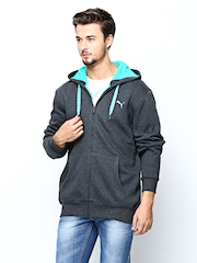 Puma Men Grey Hooded Sweatshirt