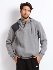 Puma Men Grey Melange Hooded Sweatshirt
