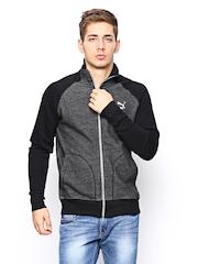 Men Grey & Black Sports Jacket Puma