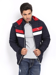 Puma Men Navy Hooded Jacket