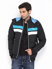 Puma Men Black Padded & Hooded Jacket