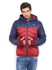 Puma Men Red & Blue Hooded Padded Jacket