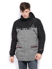 Puma Men Black & Grey Padded Hooded Jacket