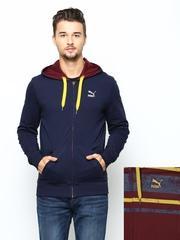 Puma Men Maroon & Navy Reversible Hooded Jacket