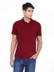 Puma Men Maroon Polo T-shirt
