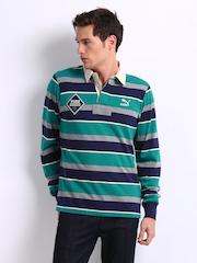 Puma Men Navy & Green Striped Polo T-shirt