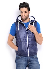 Puma Men Navy Hooded Sleeveless Jacket