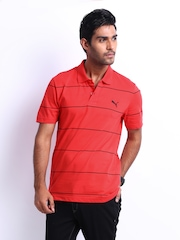 Puma Men Red Striped Jacquard Polo T-shirt