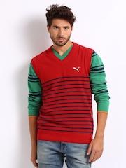 Puma Men Red & Navy Striped Sleeveless Sweater