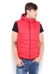 Puma Men Red Padded Sleeveless Jacket