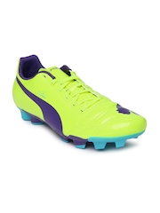 Puma Men Neon Yellow evoPOWER 4 FG Football Shoes