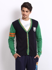 Puma Men Black & Green Cardigan