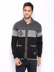 Puma Men Grey & Black Sweater