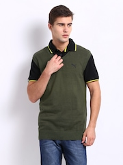 Puma Men Olive Green Sleeveless Sweater