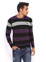 Puma Men Purple & Black Striped Sweater