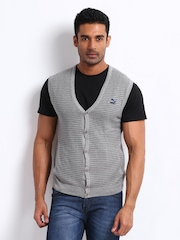 Puma Men Grey Striped Sleeveless Cardigan