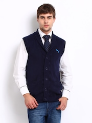 Puma Men Navy Sleeveless Cardigan