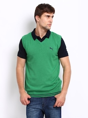 Puma Men Green Sweater Vest