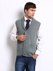 Puma Men Grey Sleeveless Cardigan